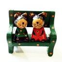 お座り アニマル ラブカップル クロネコ 木彫り 【アジアン雑貨】 バリねこ 黒猫