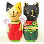 木彫りお座りキャンディ猫ミケネコ/クロネコオブジェ置物木彫り【アジアン雑貨】バリねこ