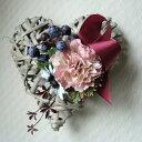 ◆フレンチハート カーネ デイジー Sアーティフィシャルフラワー 壁飾り ドア飾り インテリアハート ...