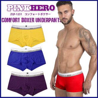 [] 奇跡令人愉快的穿著舒適性拳擊手 /ZQF-1231 [粉紅色粉紅色英雄英雄],[拳擊手舒適內褲] [內部內衣男人 M L 紅色靛藍藍色紫色黃色內衣普通版]