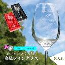【名入れ彫刻】高級ワイングラス15oz ★ 名入れグラス ★ カリクリスタル製『誕生石カラー スワロフスキー付』名入れワインググラス ma