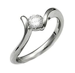 【ジュエリーリフォーム・セミオーダー】エンゲージリング(婚約指輪)にお勧めデザインプラチナリング曲線アームM