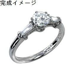 【ジュエリーリフォーム・セミオーダー】エンゲージリング(婚約指輪)にお勧めデザインメレダイヤ入りリング枠pt900
