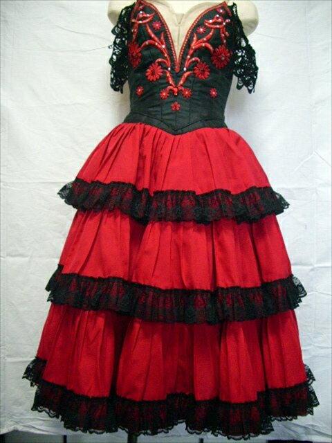 バレエ衣装レンタル ロマンチックチュチュ 24 キトリ エスメ 赤 黒 チュチュレンタル 【レンタル】