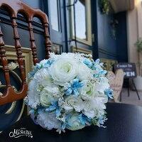 *misuzu*【ブーケ&ブトニア】ウェディングブーケ014ホワイト薔薇&ブルースター前撮り・海外挙式・リゾ婚ブライダル