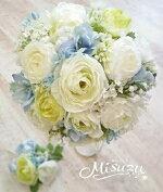 *misuzu*ころりんラナンとサムシングブルーの清楚なラウンドブーケ・ブトニア025前撮り・海外挙式・リゾ婚ブライダル