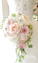 *misuzu*ほんのりピンク♪ 048 前撮り・海外挙式・リゾ婚 ブライダル 薔薇 ガーベラ ウェディングブーケ 造花ブーケ