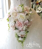 *misuzu*【新規店記念セール¥10,000!】数量限定!ほんのりピンク♪059前撮り・海外挙式・リゾ婚ブライダル薔薇ウェディングブーケ造花ブーケ