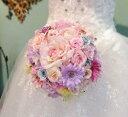 *misuzu*優しいパステル ガーベラ薔薇 レストランウェディング ガーデンパーティ 結婚式 2次会 ハワイ ブライダル ブーケ