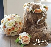 *misuzu*淡いピーチ~サーモン花冠かパーツ選べます!前撮り・海外挙式・リゾ婚ブライダルウェディングブーケ造花ブーケ