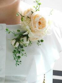*misuzu* 薔薇ナチュラルグリーン キャスケードコサージュ 卒業式・入学式・式典・結婚式・謝恩会などに 005【221バニラ】