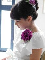 ナチュラルテイスト ダリアコサージュ2個セット【パープル】 サマードレス 入学式 卒業式 パーティ 結婚式ギフト 親子でお揃い