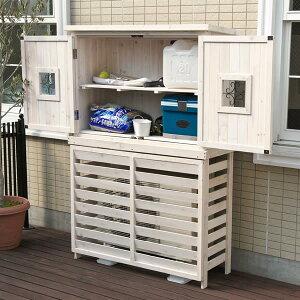 木製エアコンカバー ボーダーエアコンカバー 【ジャンボ】 木製収納庫 Potag…