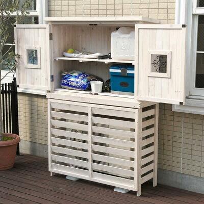 木製エアコンカバーボーダーエアコンカバー【ジャンボ】木収製納庫PotageポタジェACトールボックス付き