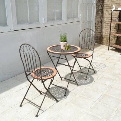 ガーデンファニチャーロゼッタテラコッタファニチャー3点セット【テーブル×1脚・チェア×2脚】