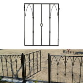 モダンエクステリアフェンス用ゲート外構やお庭の仕切りに便利なゲート(門扉)がつくれます! 【色:ブラック】仕切りや外構にピッタリのDIYアイアンフェンス(スチール・アイアン製)商品型番:ief-gt