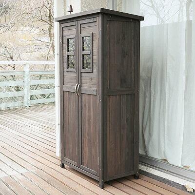 ポタジェモザイク天然木製収納庫ハイタイプ