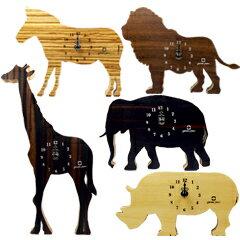 ★選べるおまけ付★さい、ぞう、らいおん、しまうま、きりんの形をした木製置掛時計。おしゃれ...