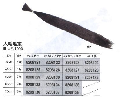 人毛毛束 70cm 80g (#2自然色/#4明るい栗色/#5黄色系栗色)