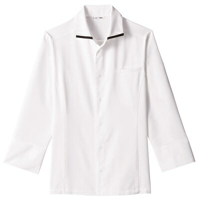 arbe CREMEL AS-8219 コックシャツ 長袖 男女兼用 ホワイト/ブラック洋食・フレンチ・飲食...