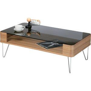 コーヒーテーブル長方形スチール/強化ガラス製棚収納付きPT-582ZB