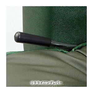 本革ハイバックリクライニング回転座椅子小物収納スペース/肘付きブラック(黒)
