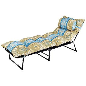 枕・ごろ寝布団付き リクライニングベッド 【セミシングル ブルー系】 6段階 折りたたみ スチールパイプ製フレーム