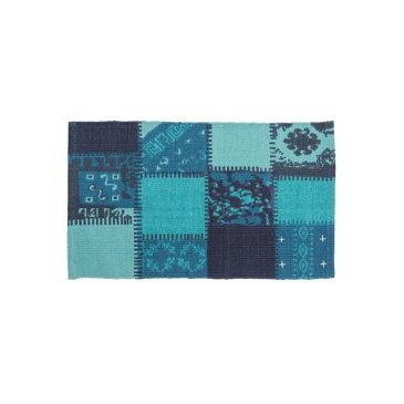 ラグマット/絨毯 【75cm×45cm ブルー】 長方形 コットン製 裏面:スベリ止め加工 TTR-130BL