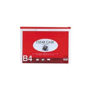 (業務用100セット)LIHITLABクリアケース/書類入れ【B4サイズ/マチなし】ビニール製透明横型F-75Sレッド(赤)
