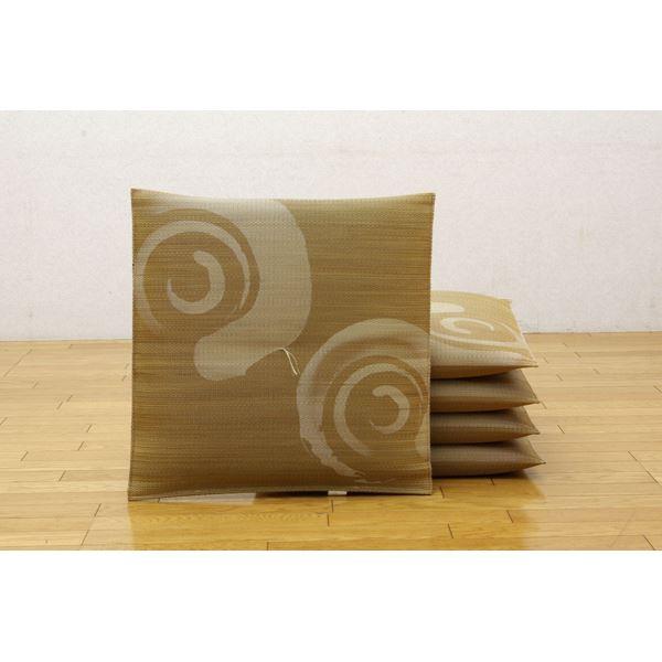 純国産 捺染 い草座布団 『鳴門 5枚組』 ブラウン 55×55cm×5P
