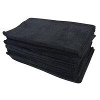 マイクロファイバーフェイスタオル:ブラック(全3色)【34x85cm】【無地】【業務用タオル】【業務用フェイスタオル】