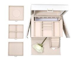 Vlando大容量ジュエリーボックスミラー付きホワイト白アクセサリーケース収納送料無料