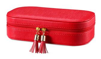 Vlandoタッセル付き長方形ジュエリーボックス旅行用持ち運びレッド赤アクセサリーケース収納