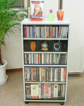 移動式CD DVD ビデオ 収納ラック・ワイド型 (メディア収納 収納ワゴン ラック 漫画 マンガ 文庫収納) おしゃれ 訳あり ギフト 送料無料