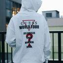 GUESS × atmos MEN'S L/SLV HOODIES WORLD TOUR (ゲス × アトモス メンズ ロングスリーブ フーディー ワールドツアー) (アイボリー)18F..