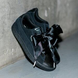 ac0a946b596e PUMA SUEDE HEART BUBBLE WOMENS(プーマ スエード ハート バブル ウイメンズ)PUMA BLACK リボン  レディース  スニーカー 18SP-I SS17でプーマウィメンズの代表的な ...