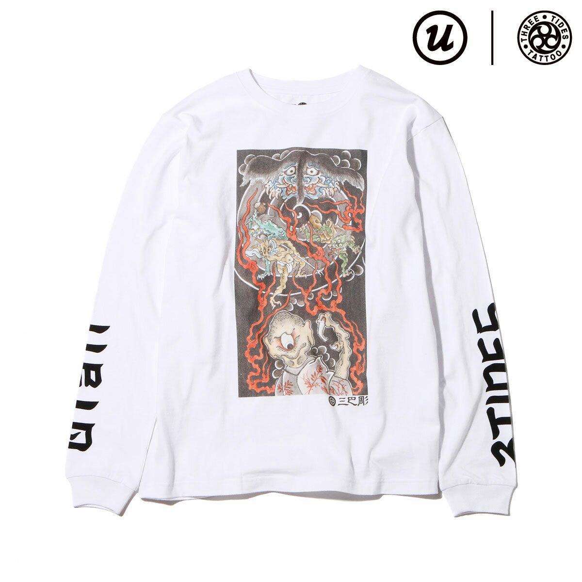 "UBIQ THREE TIDES TATTOO × UBIQ ""IREZUMI"" LS T-SHIRT(Youkai) Designed by Ganji(スリータイズタトゥー ユービック イレズミ ロングスリーブ Tシャツ(ヨウカイ) デザインド バイ ガンジー)(WHITE)17SS-I"