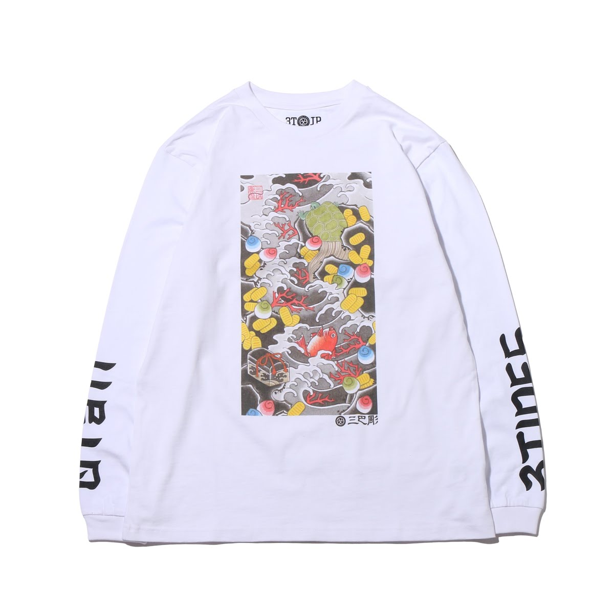 "UBIQ ""IREZUMI"" LS T-SHIRT(Takarazukushi) Designed by NAMI(イレズミ ロングスリーブ Tシャツ(タカラズクシ) デザインド バイ ナミ)(WHITE)18SS-I"