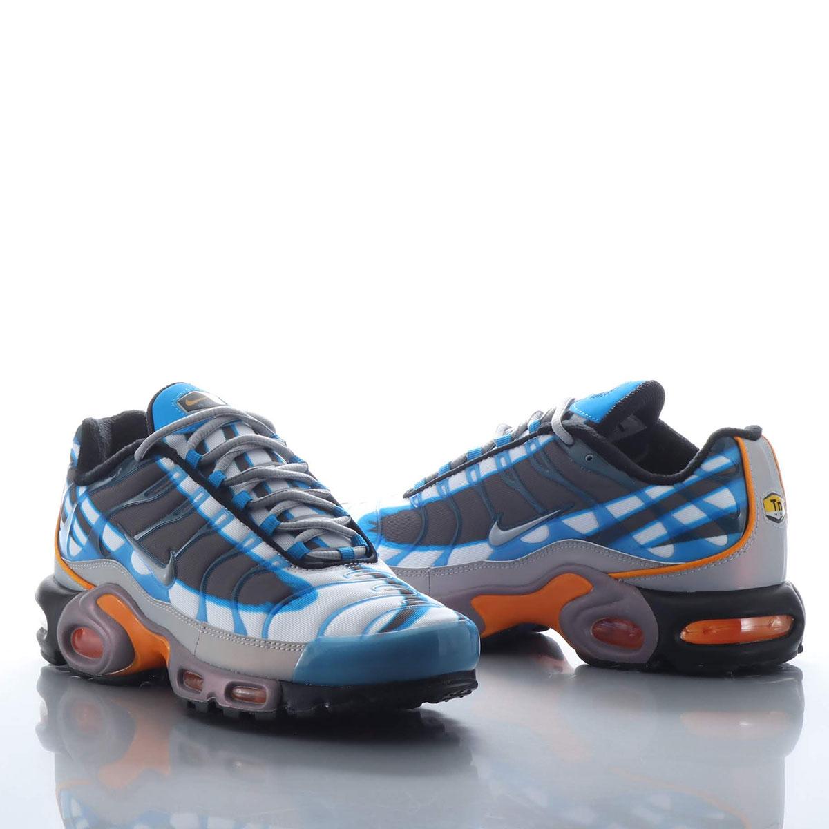 メンズ靴, スニーカー NIKE AIR MAX PLUS PRM ( )PHOTO BLUEWOLF GREY-ORANGE PEEL-BLACK 19SP-S