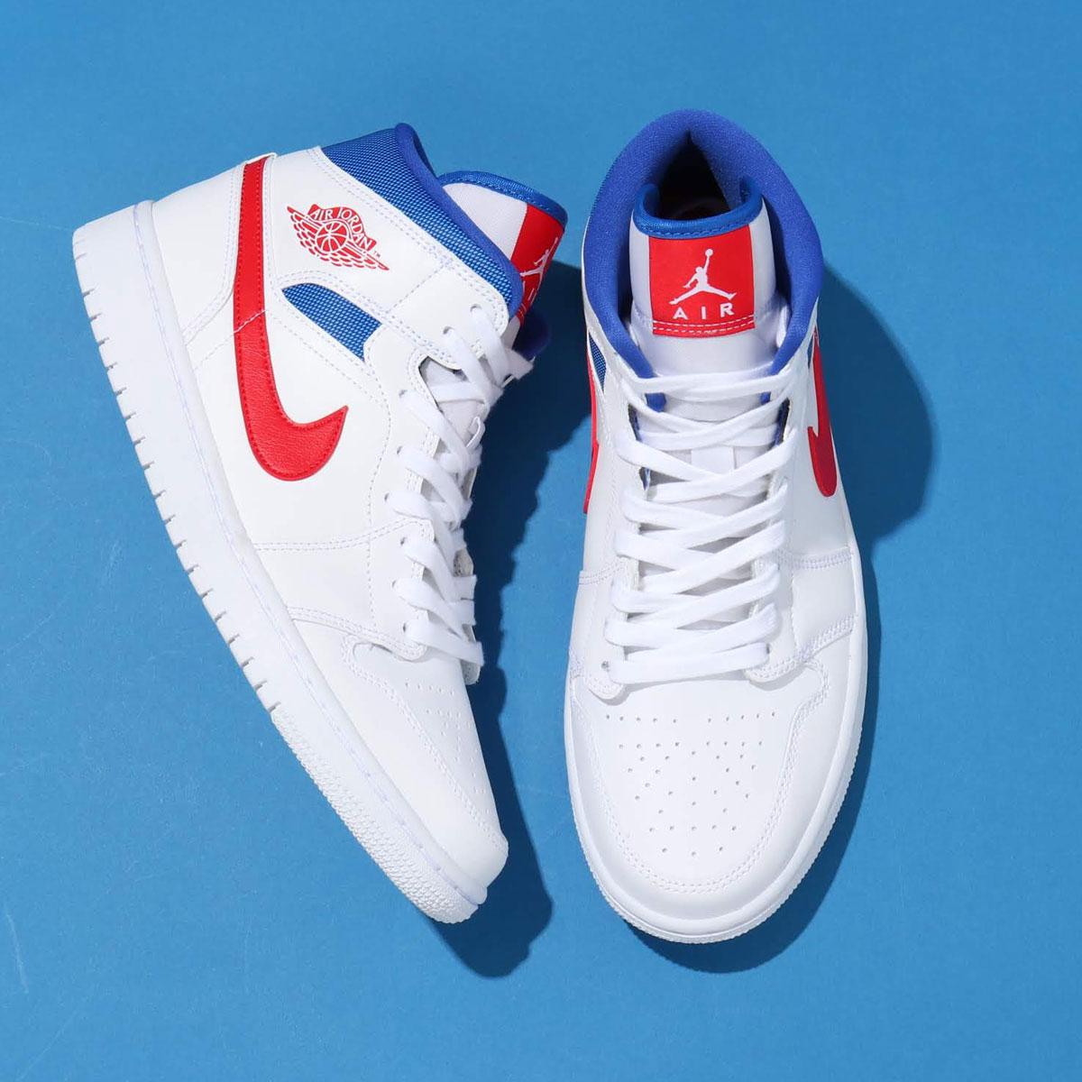 メンズ靴, スニーカー JORDAN BRAND WMNS AIR JORDAN 1 MID( 1 MID)WHITEUNIVERSITY RED-GAME ROYAL 20SU-S