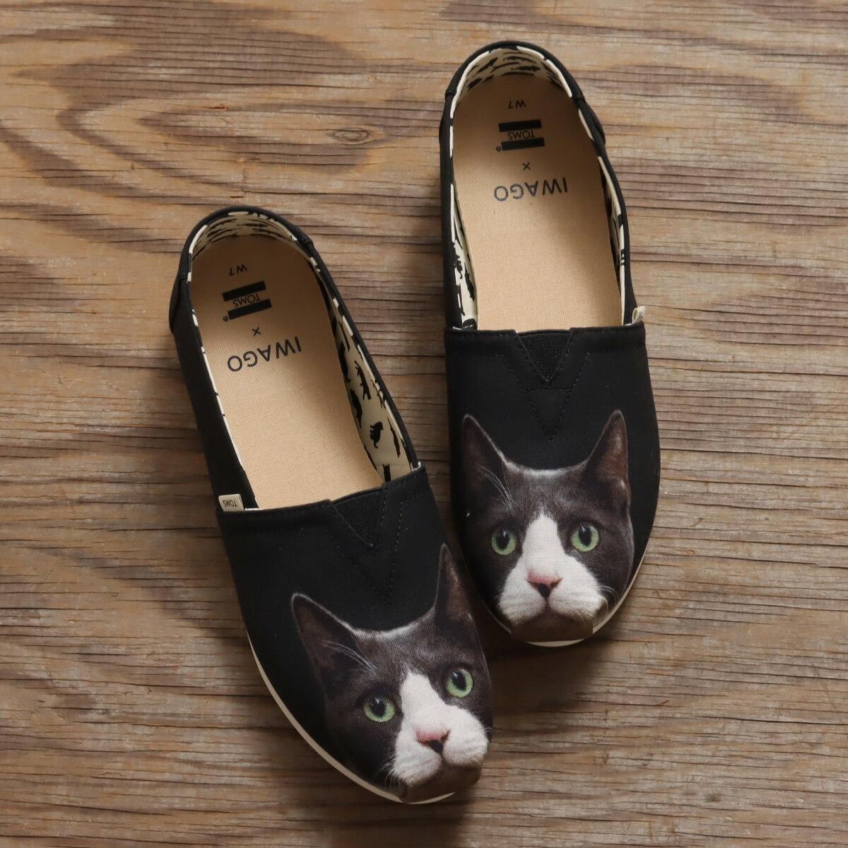 TOMS × IWAGO ALPARGATA(トムス × イワゴウ アルパルガータ)Black Gray Cat Print【レディース スニーカー】20SP-S画像