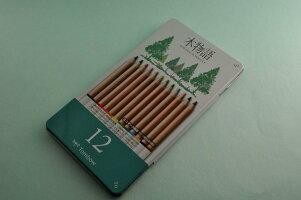 名前入れ無料S木物語缶入り色鉛筆12色セットトンボ鉛筆