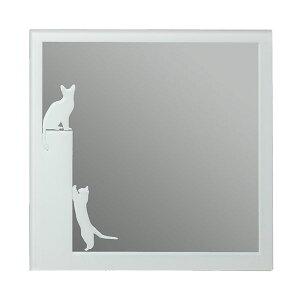 ウォールミラー 壁掛けミラー 鏡 おしゃれ 猫 キャット ねこ 正方形 四角形 姿見 壁掛ミラー 洗...