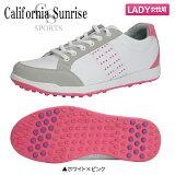 【レディース】 朝日ゴルフ カリフォルニア サンライズ CSSH-3622L スパイクレス ゴルフシューズ ホワイト×ピンク ASAHI【朝日ゴルフ】【ゴルフシューズ】