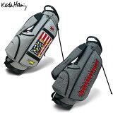 キースヘリング ゴルフ KHCB-05 スタンド キャディバッグ ライトグレー,ダークグレー Keith Haring American flag×Sta, Star×Three eyed Face ゴルフバッグ