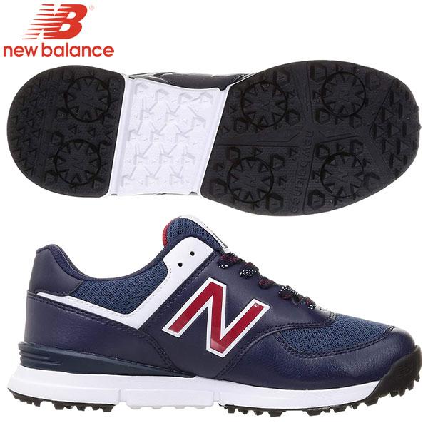 土日祝も出荷    ニューバランスゴルフUGS574シューレーススパイクレスゴルフシューズネイビー×トリコロール(NT)new