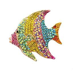 【中古】【輸入品・未使用未開封】obonnieヴィンテージカラフルクリスタルラインストーン動物魚ピンブローチスカートドレスジュエリーギフトボックス