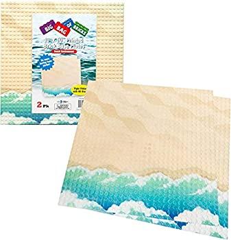 おもちゃ, その他 Brick Building Base Plate with Beach Pattern - Large 25cm x 25cm Beach Baseplates (2 Pack)