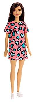 【中古】【輸入品・未使用未開封】?Barbie Doll Brunette Wearing Pink and Blue Heart-Print Dress and Platform Sneakers for 3 to 7 Year Olds画像