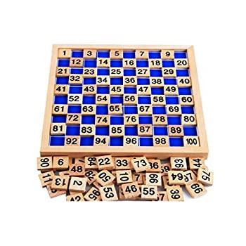 【中古】【輸入品・未使用未開封】Zerowin Wooden Toys Hundred Board Montessori 1-100 Consecutive Numbers Wooden Educational Game for Kids with Storage Bag by Zerowin画像